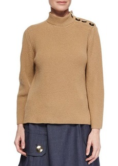 Marc Jacobs Cashmere-Blend Military Rib-Knit Sweater