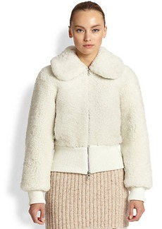 Marc Jacobs Cropped Shearling Bomber Jacket