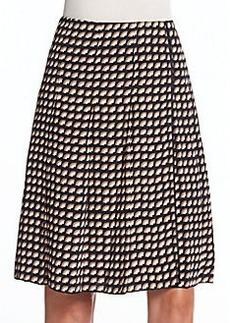 Marc Jacobs Fan-Print Pleated A-Line Skirt