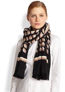 Marc Jacobs Fan Print Wool & Silk Scarf