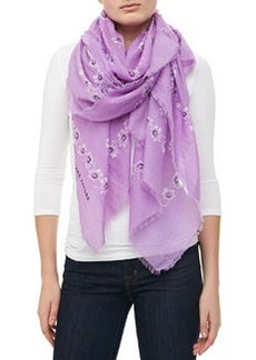 Marc Jacobs Floral Voile Fringe Scarf, Lilac
