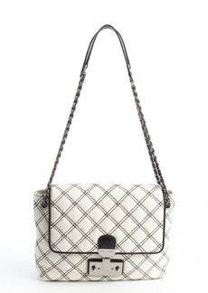 Marc Jacobs ivory and black leather stitched detail logo imprinted shoulder bag