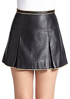Marc Jacobs Leather Metallic-Piped Miniskirt