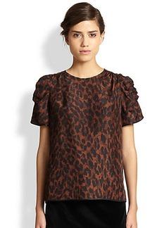 Marc Jacobs Leopard-Print Gathered Silk Blouse