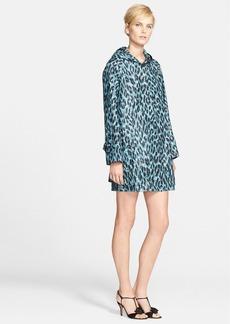 MARC JACOBS Leopard Print Hooded Water Resistant Silk Coat