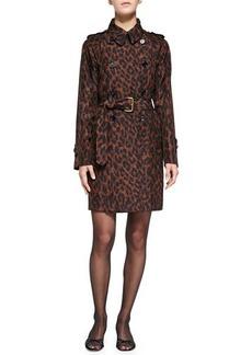 Marc Jacobs Leopard-Print Silk Trenchcoat