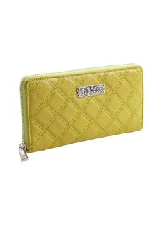 Marc Jacobs lime textured quilted leather logo stamp zipper continental wallet