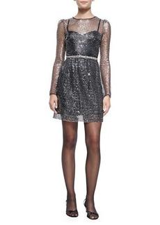 Marc Jacobs Long-Sleeve Dress W/ Rhinestone Bow Belt