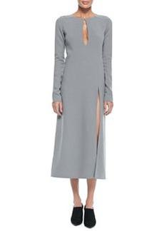 Marc Jacobs Long-Sleeve Keyhole Midi Dress, Gray