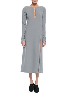 Marc Jacobs Long-Sleeve Keyhole Midi Dress, Gray