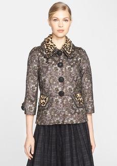 MARC JACOBS Metallic Floral Jacquard Jacket with Genuine Calf Hair Collar