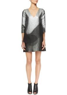 Marc Jacobs Metallic Minidress with Swirling Peplum
