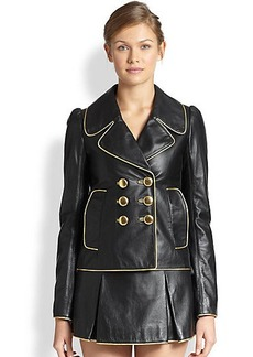 Marc Jacobs Metallic-Piped Leather Jacket