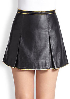 Marc Jacobs Metallic-Piped Pleated Leather Mini Skirt