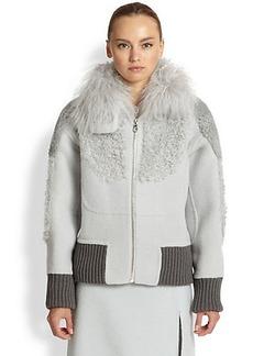 Marc Jacobs Mixed Fur-Detail Bomber Jacket