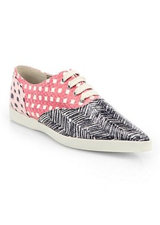 Marc Jacobs Mixed Print Snakeskin Lace-Up Sneakers