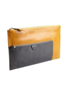 Marc Jacobs ocher and grey leather zip portfolio