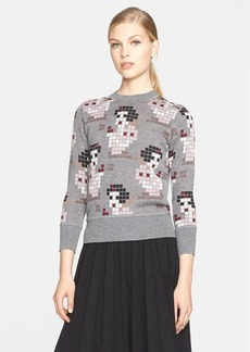 MARC JACOBS Pixelated Snow White Cashmere & Silk Sweater