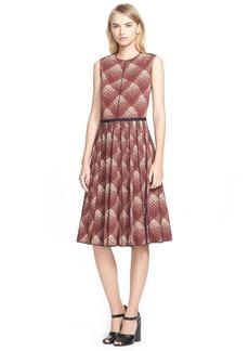 Marc Jacobs Plaid Print Pleated Wool Dress
