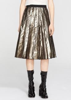 MARC JACOBS Pleated Metallic Kangaroo Leather Skirt