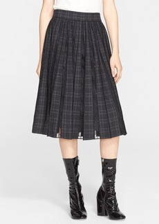 MARC JACOBS Pleated Worsted Wool Check Skirt