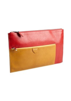 Marc Jacobs red and ocher leather zip portfolio