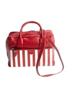 Marc Jacobs red and white leather pinstripe detail convertible top handle bag