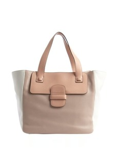 Marc Jacobs rose and white leather top handle tote
