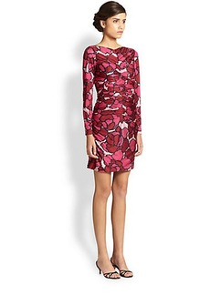 Marc Jacobs Ruched Printed Jersey Dress
