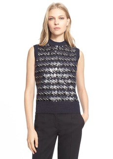 MARC JACOBS Sequin Embellished Jacquard Houndstooth Sleeveless Sweater