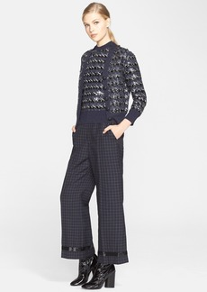 MARC JACOBS Sequin Embellished Jacquard Knit Wool Cardigan