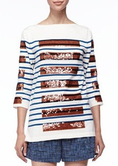 Marc Jacobs Sequined-Stripe Bateau Tunic