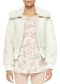 Marc Jacobs Shearling Fur Cropped Bomber Jacket