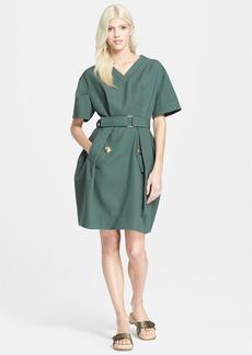 MARC JACOBS Short Sleeve Pleated Gabardine Dress