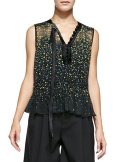 Marc Jacobs Sleeveless Floral Blouse W/ Asymmetric Tie