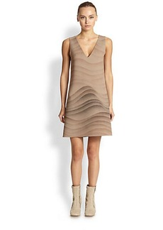 Marc Jacobs Sleeveless Wool Wave-Print Dress