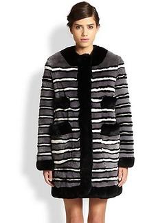 Marc Jacobs Striped Rex Rabbit Fur Coat