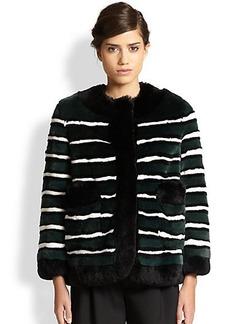 Marc Jacobs Striped Rex Rabbit Fur Jacket