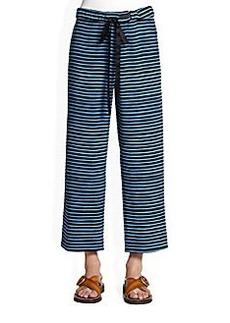 Marc Jacobs Striped Silk Drawstring Pants