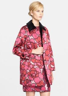 MARC JACOBS Velvet Trim Petal Print Coat