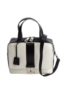 Marc Jacobs white and black leather top handle shoulder bag
