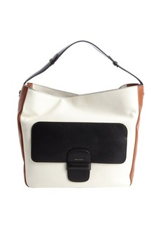 Marc Jacobs white and brown lambskin colorblock shoulder bag