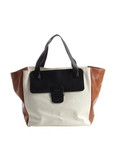 Marc Jacobs white and tan colorblock leather large tote bag