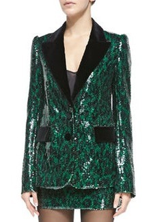 Sequined Leopard Two-Button Jacket   Sequined Leopard Two-Button Jacket