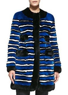 Striped Rabbit Fur Coat with Pockets   Striped Rabbit Fur Coat with Pockets