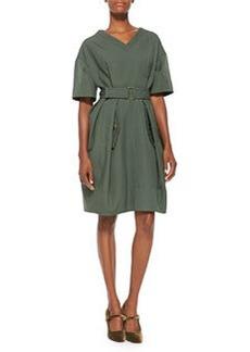 V-Neck Pleated Wool Dress, Green   V-Neck Pleated Wool Dress, Green