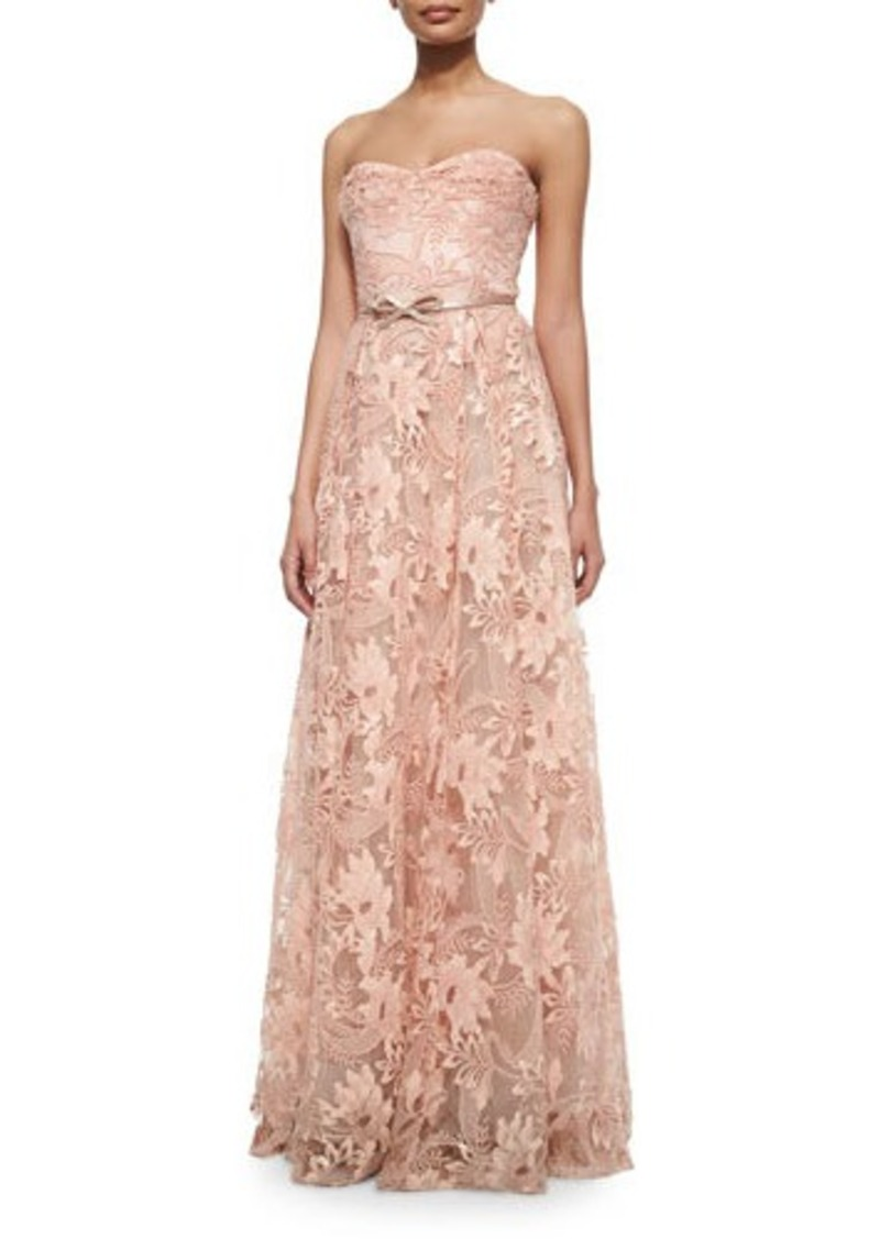 Marchesa marchesa notte strapless sweetheart belted lace for Marchesa wedding dress sale
