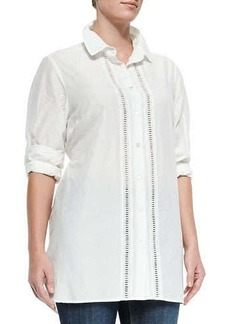 Marina Rinaldi Baccheo Cotton Silk Center-Trim Blouse, Women's