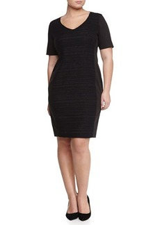 Marina Rinaldi Dono Stretch Curvy Woven-Front Dress, Women's