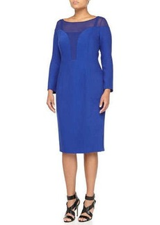 Marina Rinaldi Edolo 3/4-Sleeve Illusion-Neck Dress, China Blue, Women's